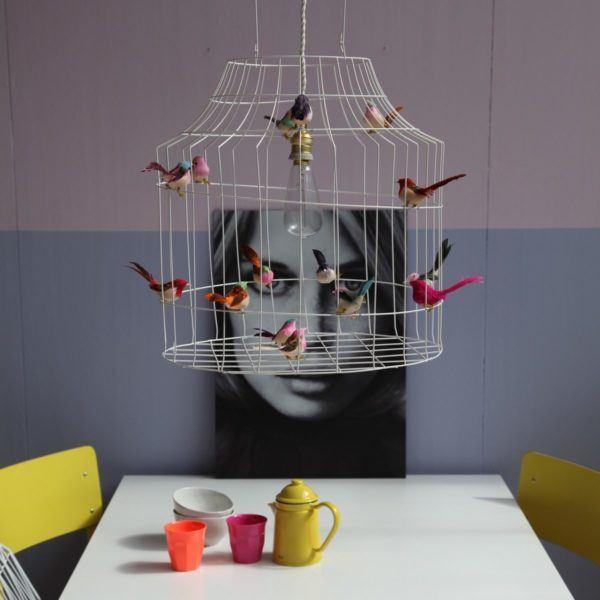 witte hanglamp vogeltjes eettafel